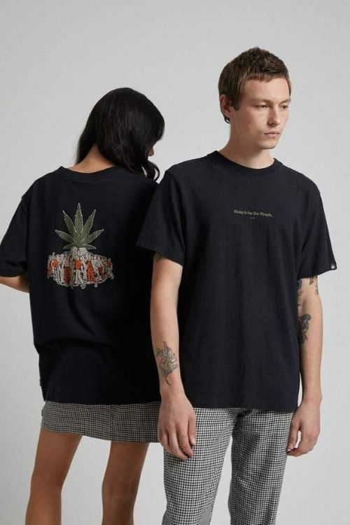 Afends - For The People Unisex Hemp Retro Fit Tee in Black