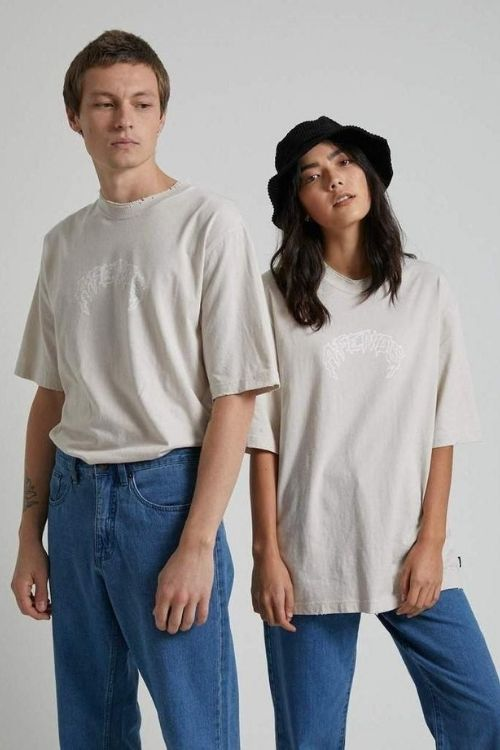 Shots Fired Unisex Oversized Retro Fit Tee in Moonbeam
