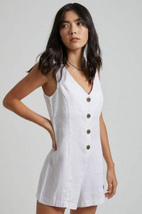 Afends - Niko Hemp Playsuit in White
