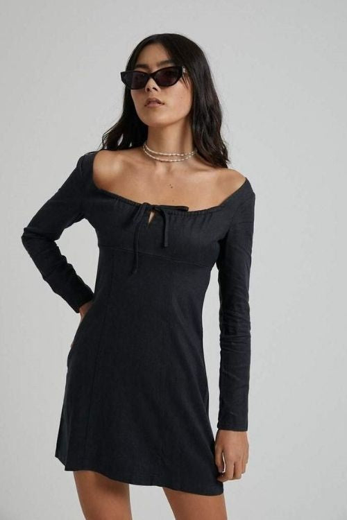 Afends - Ren Hemp Long Sleeve Dress in Black