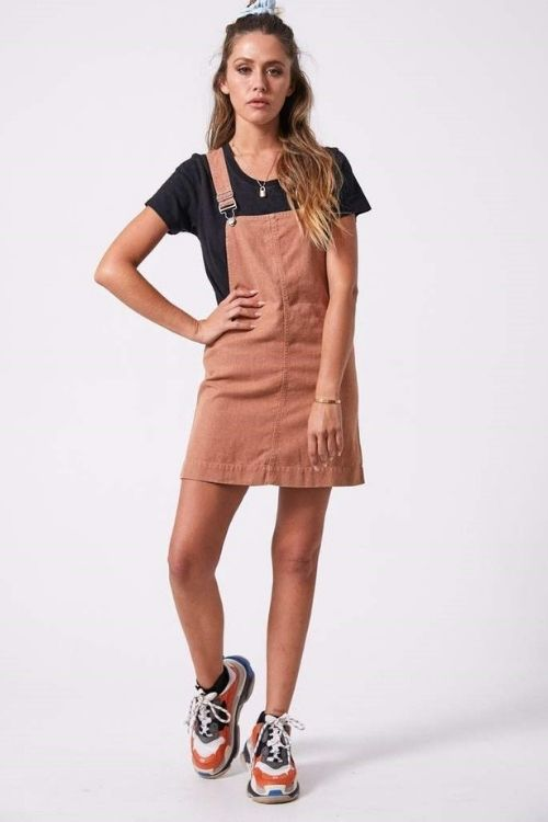 Afends - Mae Hemp Overall Dress in Clay