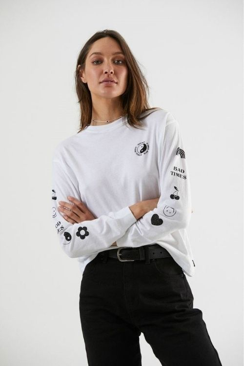 Afends - Good Bad Good Boyfriend Fit Long Sleeve Tee in White