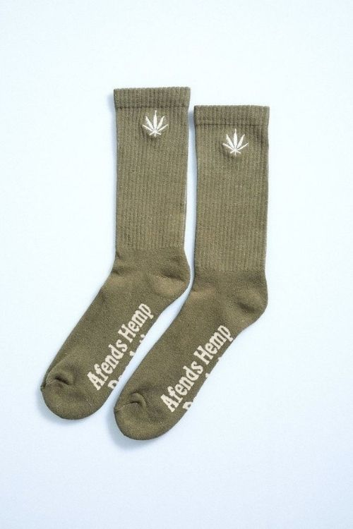 Afends - Unisex Happy Hemp Socks in Covert Green
