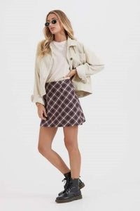 Afends - Mariah Hemp Bias Cut Skirt in Mulberry Check