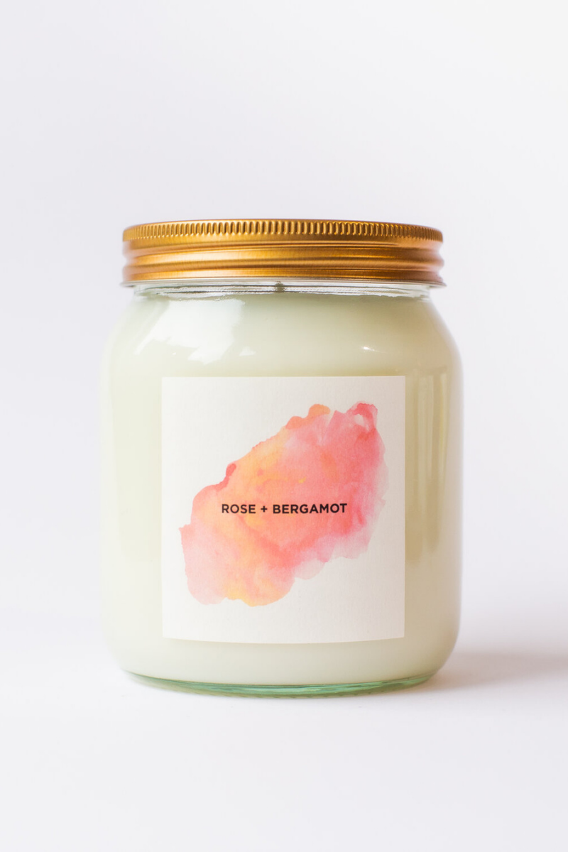 Rose and Bergamot Aromatherapy Candle