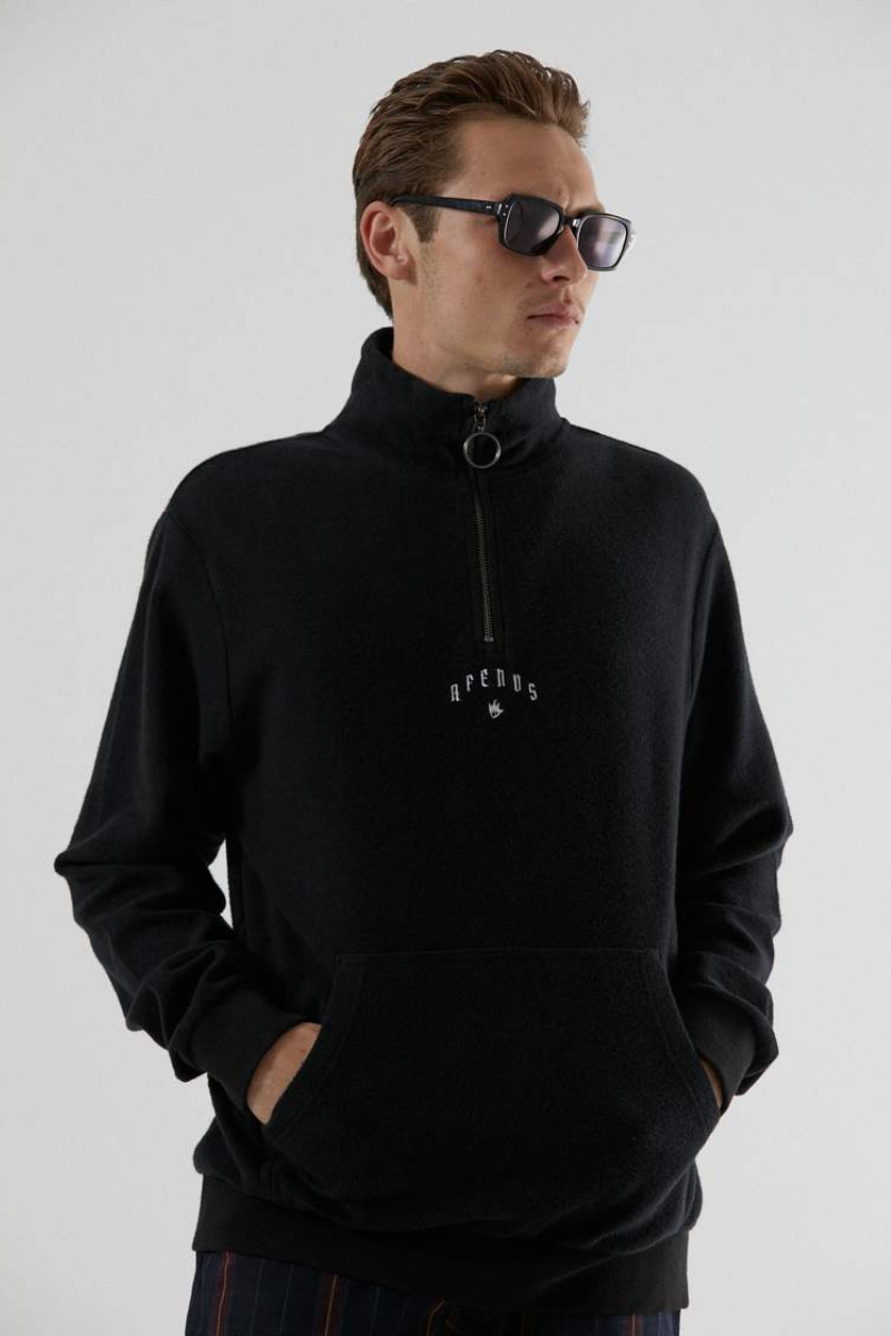 Afends - Collective Hemp Half Zip Crew Neck in Black