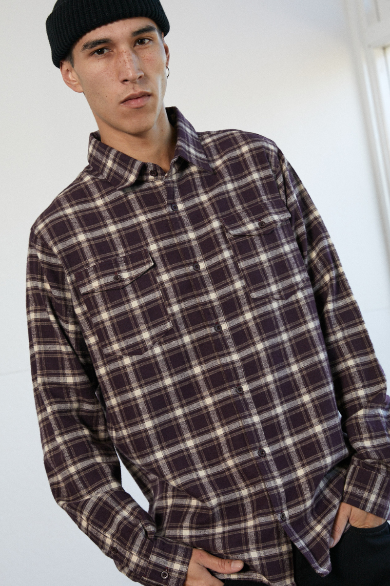 Afends - XF Falcon Hemp Long Sleeve Shirt in Mulberry Check