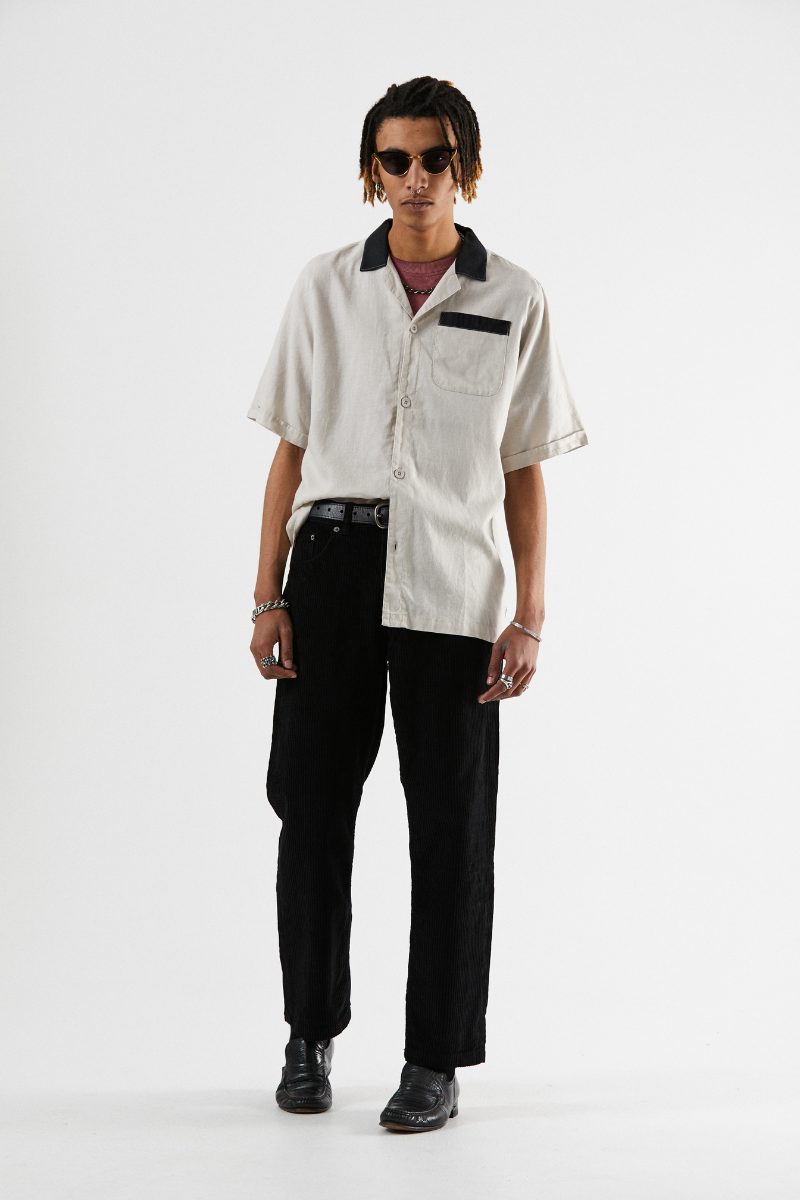 Afends - Bowlo Hemp Cuban Short Sleeve Shirt in Moonbeam
