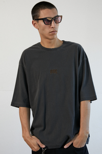 Afends - Distressed Oversized Tee in Stone Black