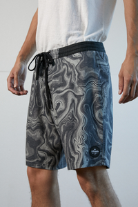 Afends - Zoil Hemp Fixed Waist Boardshort in Black