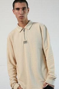 Afends - Meninga Hemp Half Zip Long Sleeve Polo Tee in Macadamia