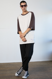 Afends - Raw Hemp Raglan Tee in White / Mulberry