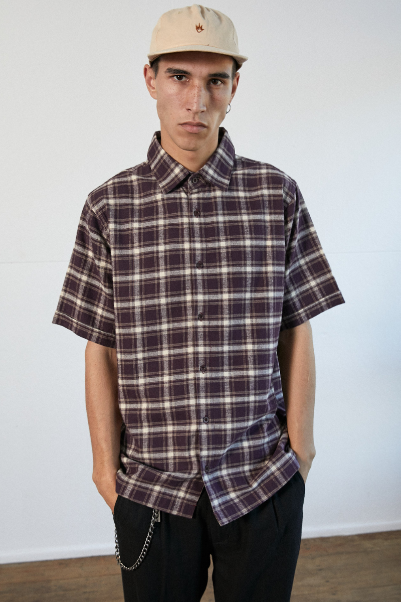 Afends - Kemp Hemp Short Sleeve Shirt in Mulberry Check