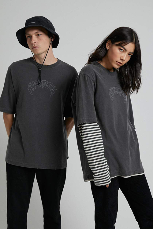 Afends - Shots Fired Unisex Oversized Retro Fit Tee in Stone Black