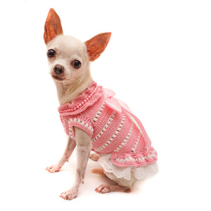 Pretty Lady Crochet Dog Dress with Lace