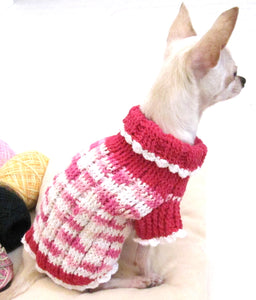 Pink and White Turtle Neck Sweater