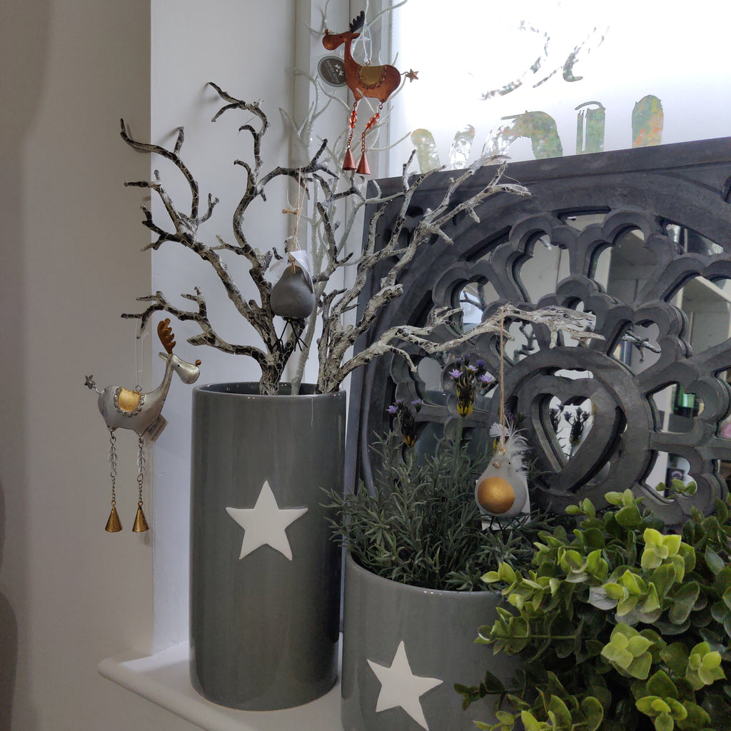 Grey & White Star Vases