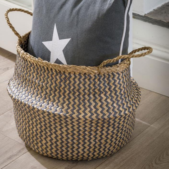 Seagrass Belly Basket in Grey or Natural
