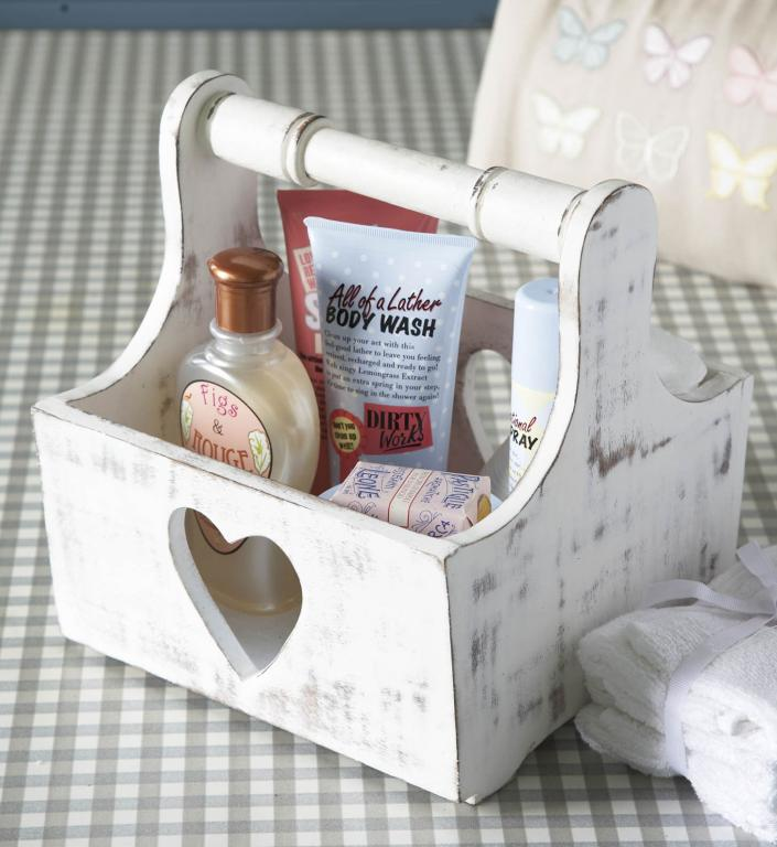 Vintage White Heart Design Trug