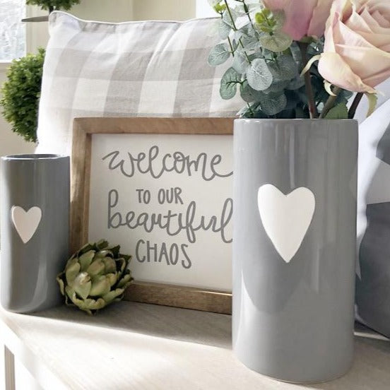 Grey & White Heart Vases