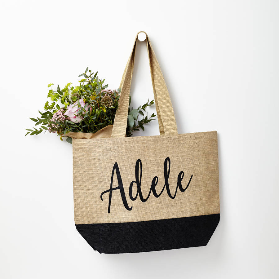 Eco-Friendly Personalised Natural Black Dipped Hem Jute Bag