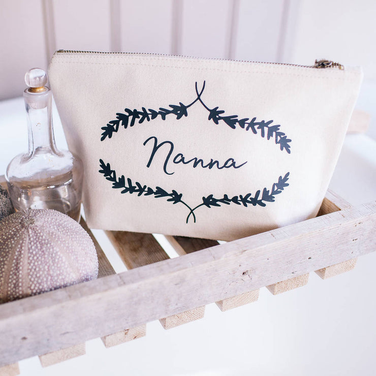 Personalised Organic Cotton Cream Toiletry & Make Up Bag