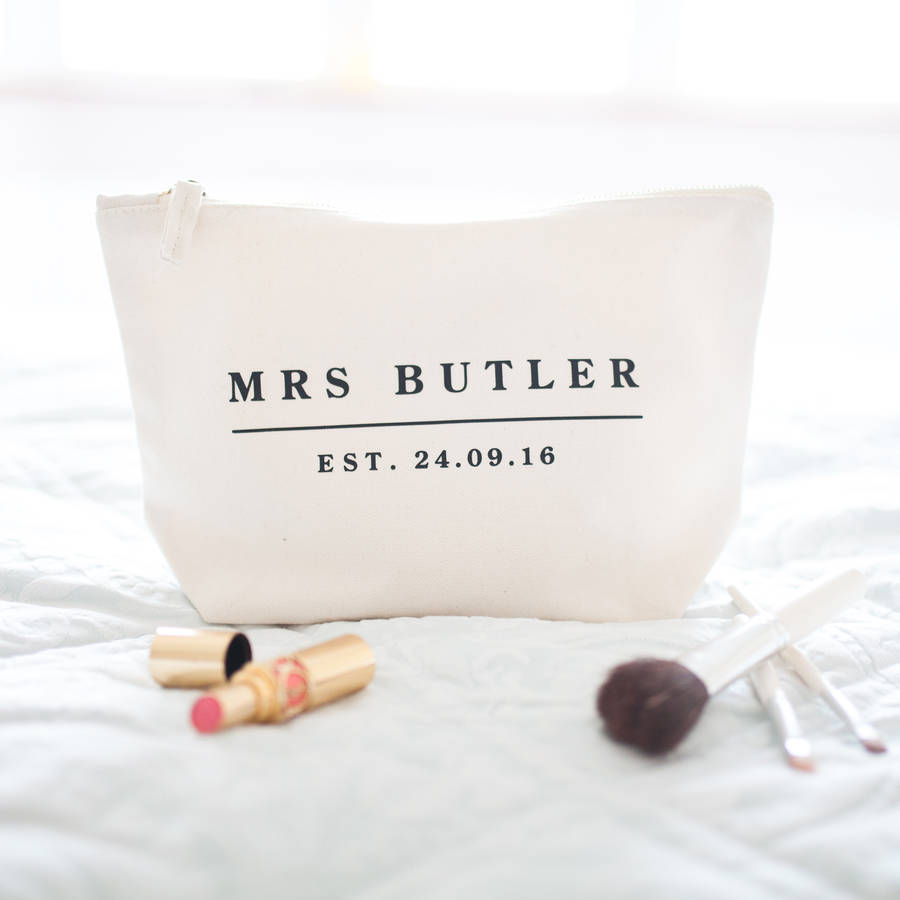 "Personalised ""MRS"" Organic Cotton Cream Toiletry & Make Up Bag"
