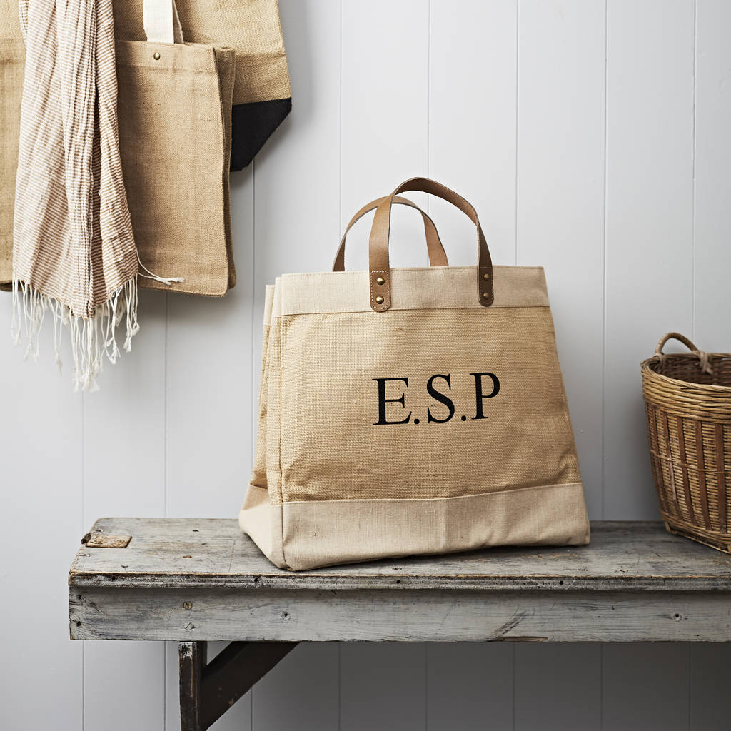 Personalised Eco Canvas Monogram Jute Bag