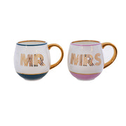 Mr & Mrs Mugs in Petrol Blue & Blush