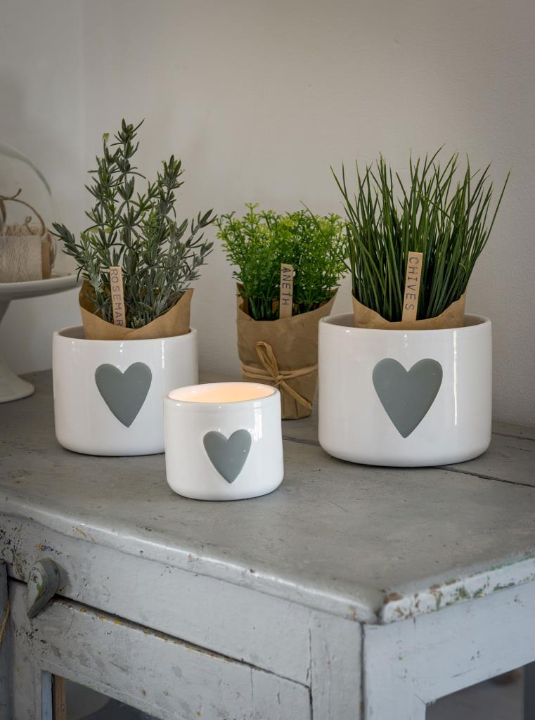 Set of Three Grey and White Heart Pots