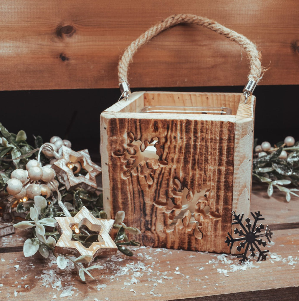 Wooden Snowflake Lantern With Rope Handle