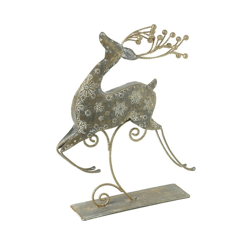 Metal Jumping Reindeer on Stand