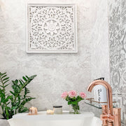 White Carved Wall Panel