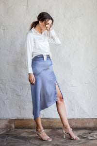 Asymmetrical Side Split Skirt-My Kine Blue