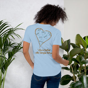 "Blue ""Hearts Aloft"" Short-Sleeve Unisex T-Shirt"