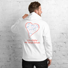 "Load image into Gallery viewer, White Men's ""Hearts Aloft"" Unisex Hoodie"