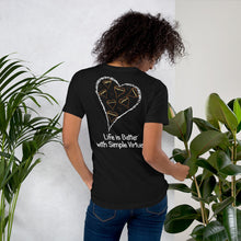 "Load image into Gallery viewer, Black ""Hearts Aloft"" Short-Sleeve Unisex T-Shirt"