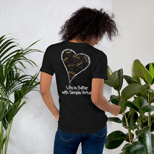 "Black ""Hearts Aloft"" Short-Sleeve Unisex T-Shirt"