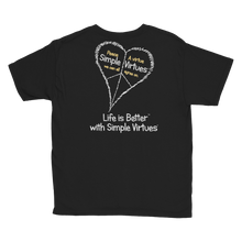 "Load image into Gallery viewer, Black ""Peace Heart"" Youth Unisex T-Shirt"