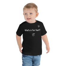 "Load image into Gallery viewer, Black ""Peace Heart"" Toddler Short Sleeve Tee"