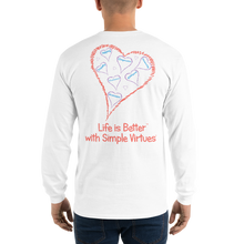 "Load image into Gallery viewer, White ""Hearts Aloft"" Men's Long-Sleeve T-shirt"