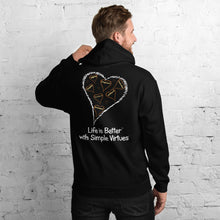 "Load image into Gallery viewer, Black Men's ""Hearts Aloft"" Unisex Hoodie"