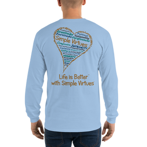 "Light Blue ""Heart Full of Virtues"" Men's Long-Sleeve T-shirt"