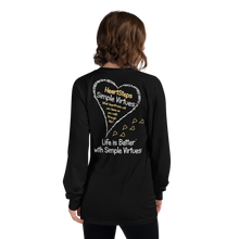 "Load image into Gallery viewer, Black ""HeartSteps"" Long-Sleeve T-shirt"