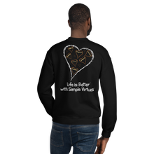 "Load image into Gallery viewer, Black ""Hearts Aloft"" Unisex Sweatshirt"