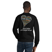 "Load image into Gallery viewer, Black ""Heart Full of Virtues"" Unisex Sweatshirt"