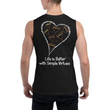 "Load image into Gallery viewer, Black Men's ""Hearts Aloft"" Muscle Shirt"