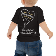 "Load image into Gallery viewer, Black ""Peace Heart"" Baby Short Sleeve Tee"