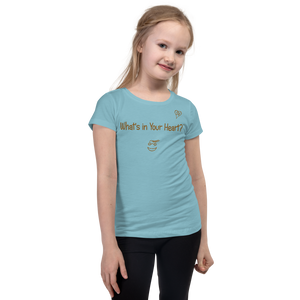 "Cancun Blue ""HeartSteps"" Girl's Cut Slim Fit T-Shirt"