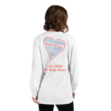 "Load image into Gallery viewer, White ""Heart Full of Virtues"" Long-Sleeve T-shirt"